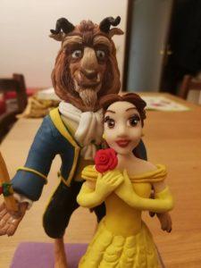 Cake topper Disney Bella e la Bestia in FIMO fatto a mano