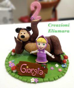 Cake topper Masha e Orso in fimo fatto a mano